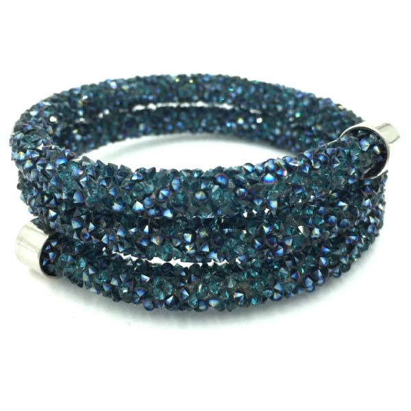 Double sparkle dust cuff bracelet - teal